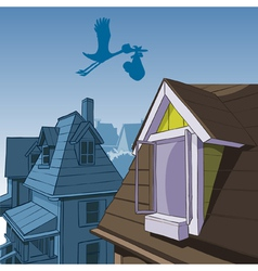 cartoon stork carries a bag with a child vector image