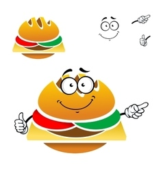 Cartoon tasty fast food cheeseburger vector image