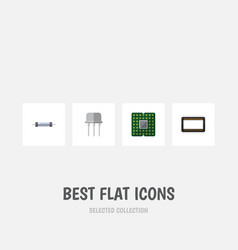 Flat icon electronics set of mainframe resistor vector