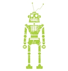 green grunge robot doodle on a white vector image vector image