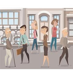 people walking on the street cartoon characters vector image vector image