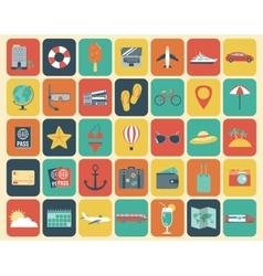Travel Icons Set Flat design style vector image