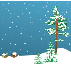 winter card with firs vector image