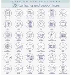 contact us outline icon set Elegant thin vector image