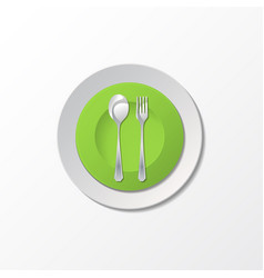 cutlery with green plate vector image vector image