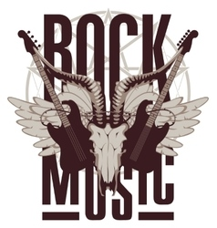 electric guitar wings and goat skull vector image vector image