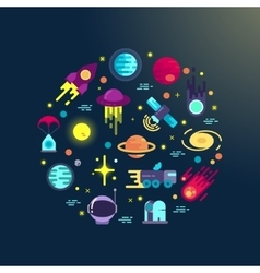 Space flat icons composition vector image vector image