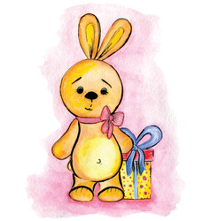 the watercolor drawing toy bunny with gift vector image vector image