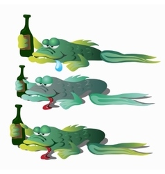 Three funny drunken fishes with bottle vector image vector image