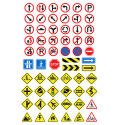 road signs icons set vector image vector image