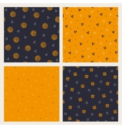 Set of hand drawn Halloween seamless patterns vector image vector image