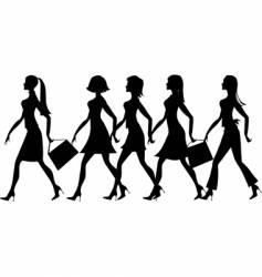 silhouette of 5 ladies vector image