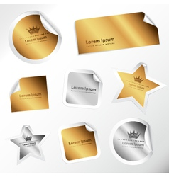Silver and gold stickers vector