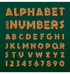 Wooden alphabet and numbers vector image