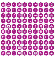 100 help icons hexagon violet vector