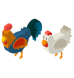 3d design for hen and rooster vector image