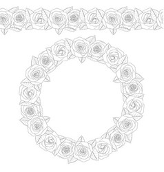 a round wreath of roses vector image