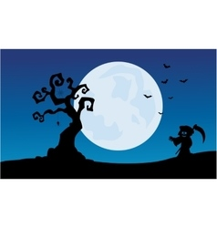 At night warlock scenery Halloween backgrounds vector