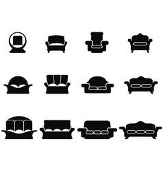 black sofa icons set vector image