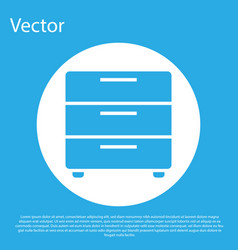 blue furniture nightstand icon isolated on blue vector image