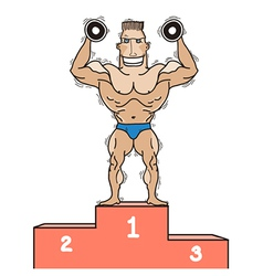 Bodybuilder on winner podium isolated on white vector