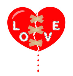 broken heart inscription love glued sticky tape vector image
