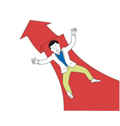 businessman falling on red arrow vector image