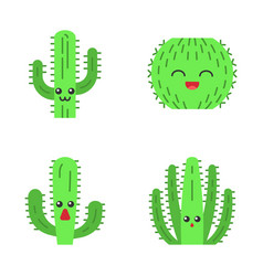 Cactuses flat design long shadow color icons set vector