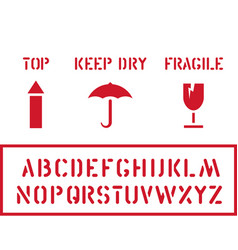 cargo cardboard box icon stamp set fragile keep vector image