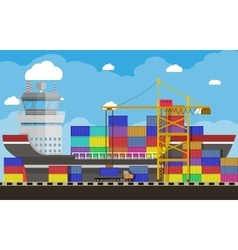 Cargo ship container crane truck port logistics vector
