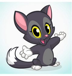 Cartoon black cat vector