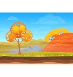 Cartoon nature autumn landscape in sun day vector