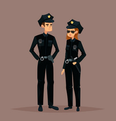 Cartoon woman and man at police job or work vector