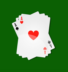 casino playing cards aces combination for poker or vector image
