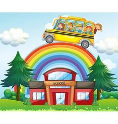 Children on school bus riding over the rainbow vector