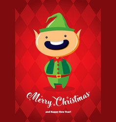 christmas card with a christmas elf vector image