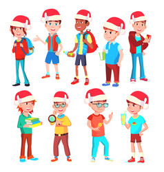 christmas children set boys and girls vector image