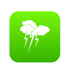cloud with lightnings icon digital green vector image