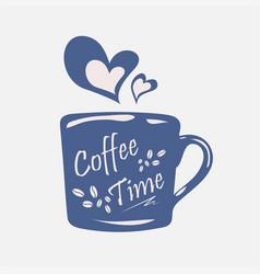 Coffee time on coffee cupsmoke transform to vector