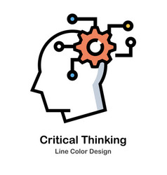Critical thinking line color icon vector