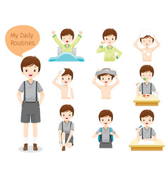 Daily routines of boy vector