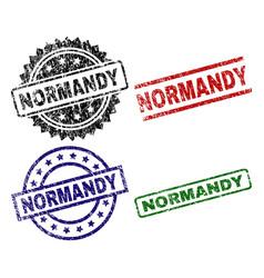 Damaged textured normandy stamp seals vector