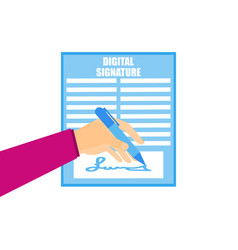 digital signature a hand is holding a pen signing vector image