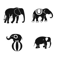 Elephant icon set simple style vector