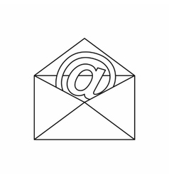 Envelope with email sign icon outline style vector image