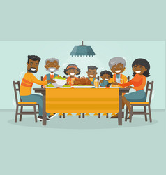 Family celebrating thanksgiving holiday card vector