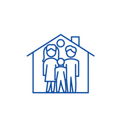 family house line icon concept family house flat vector image