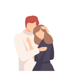 Feceless man standing and embracing young woman vector