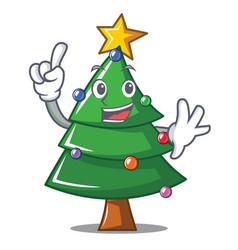 finger christmas tree character cartoon vector image