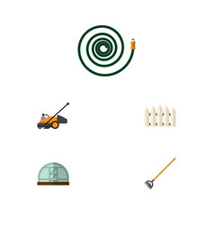 Flat icon farm set of hothouse hosepipe lawn vector